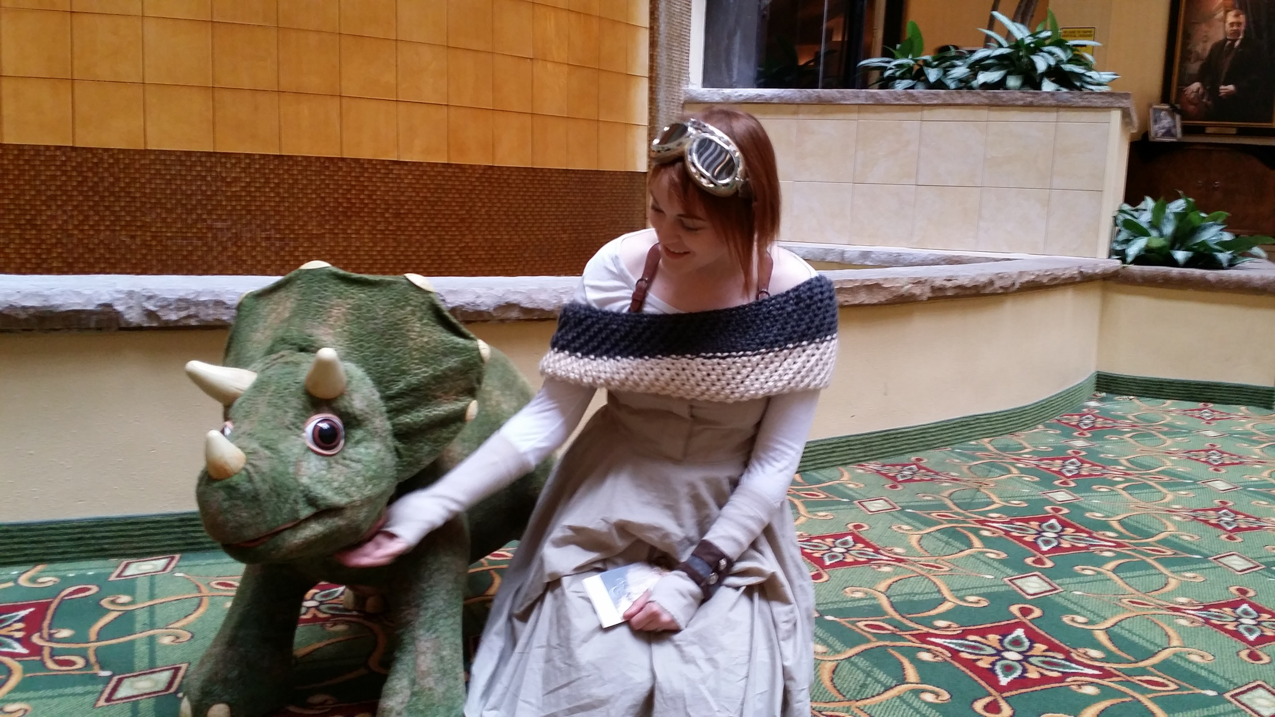I made friends with one of the three triceratops (which are an actual Playskool toy)