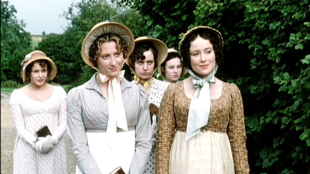 The Bennet sisters in P&P (1995): Lydia, Jane, Mary, Kitty, Elizabeth.