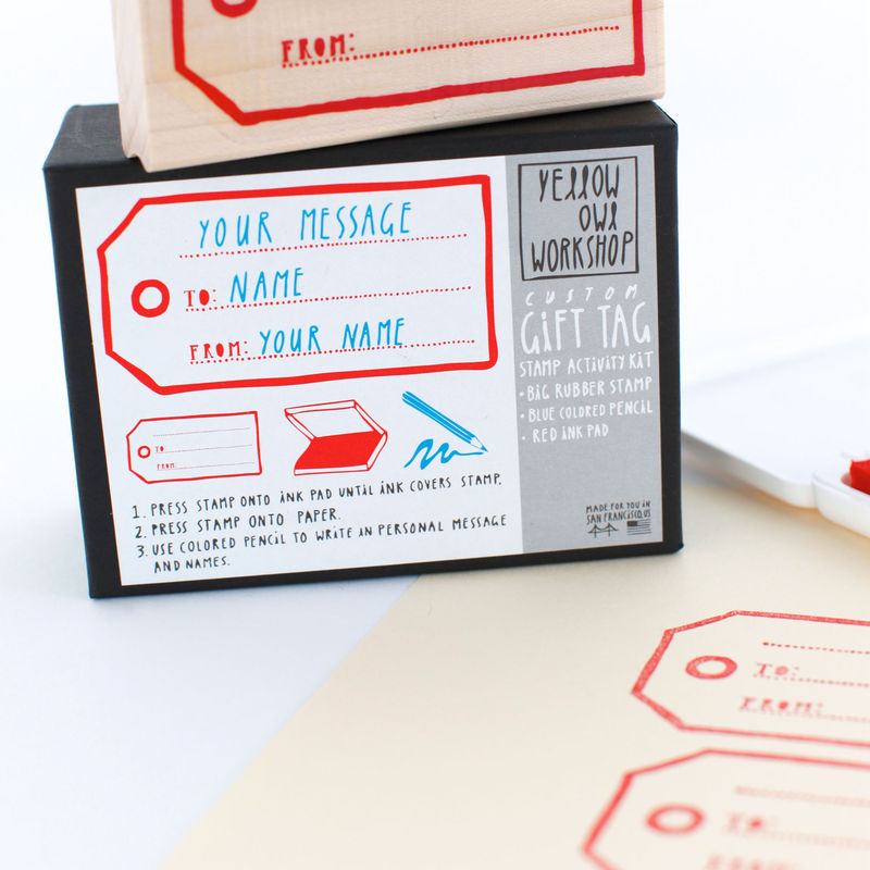 This custom gift stamp is  available for $19.50 at Yellow Owl Workshop.