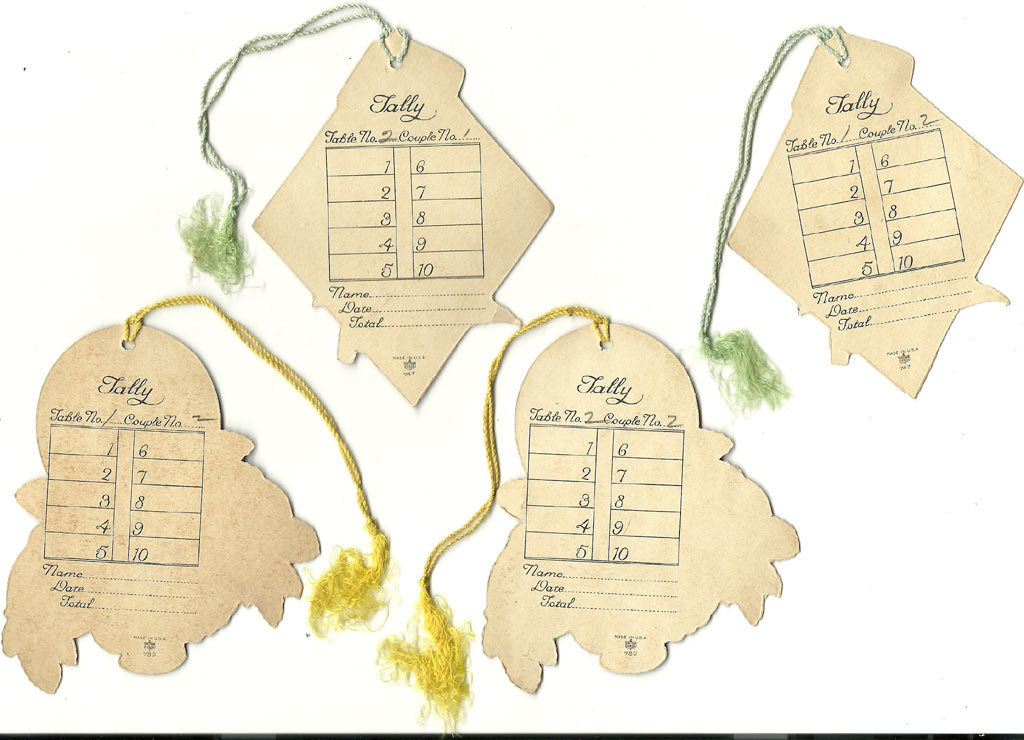 The backs of tally cards. Photo courtesy of  Rubylane .