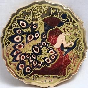 intage Art Deco Stratton England Gold Peacock Lady Harp Enamel Powder Compact