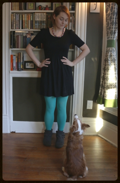 The inspiration for this article -I paired a little black dress with two pops of color: robin egg blue tights and a crayon necklace. As you can see, Buster (my trusty Chinese Crested Powderpuff) is impressed.