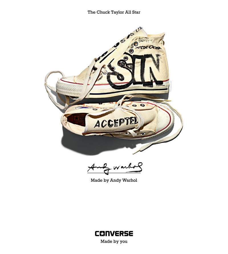 """Andy Warhol's Converse All Star, 1984-1986 featured in a recent Converse """"Made For You"""" campaign."""