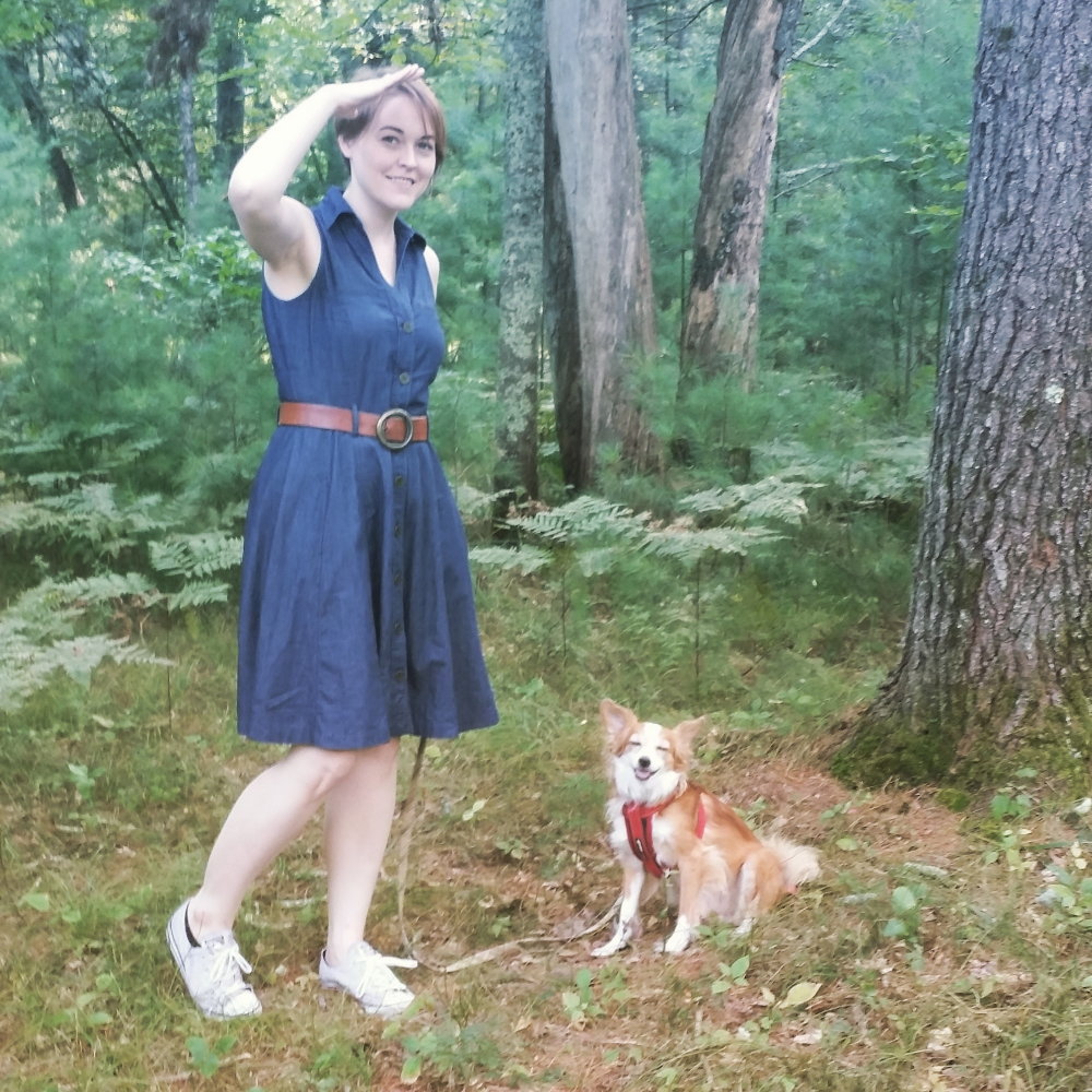 Exploring Midwest nature with my ham of a dog, Buster. Paired thrifted denim dress with a vintage belt my mother gave me years ago.