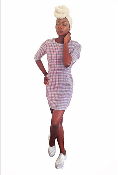 ReBirth Shift Dress in Double Check – Mayamiko.png