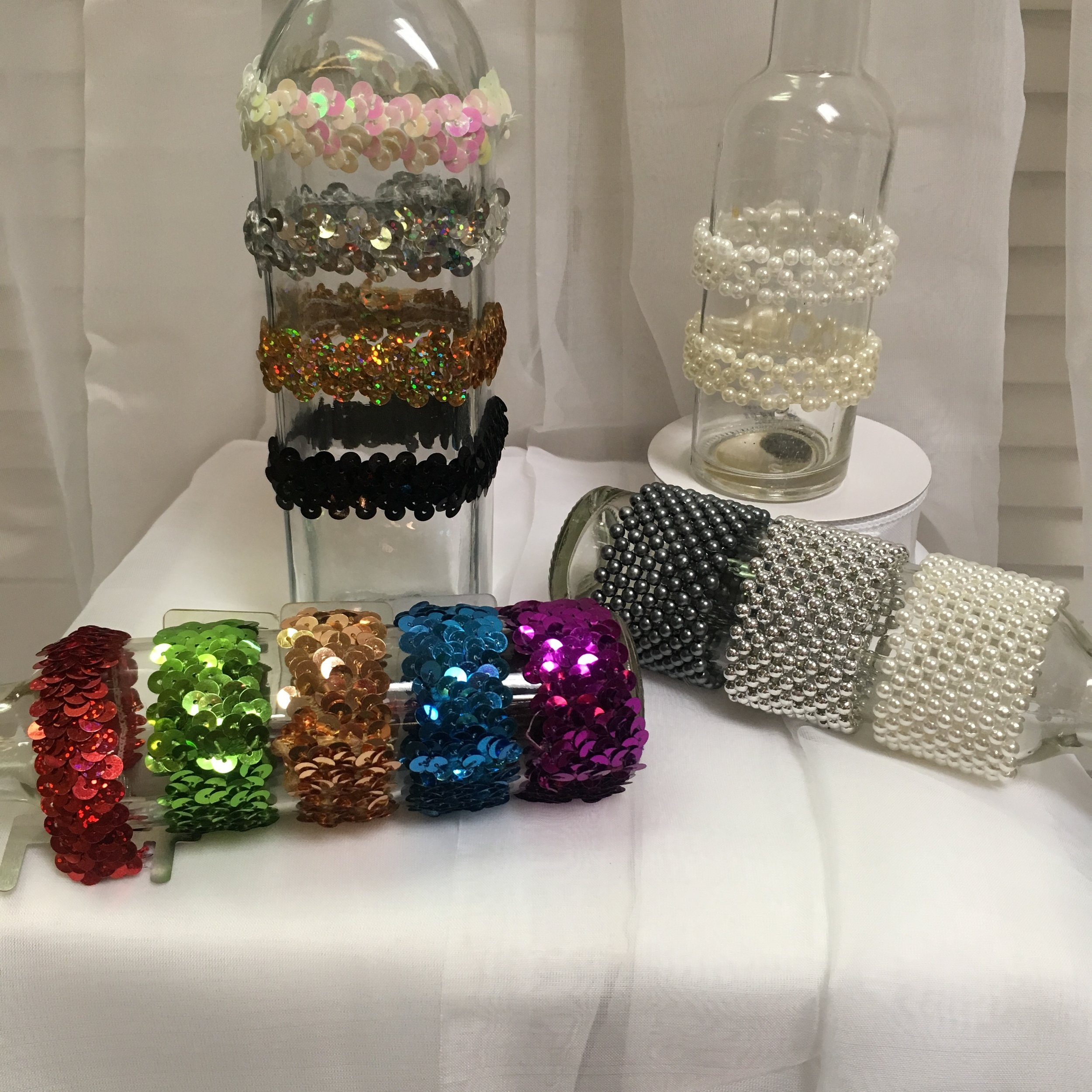 Standard Bracelets: White, Silver, Gold, Black Sequins; Red, Green, Gold, Turquoise, Purple Sequins; White, Ivory Beads; Black, Silver, White Beads