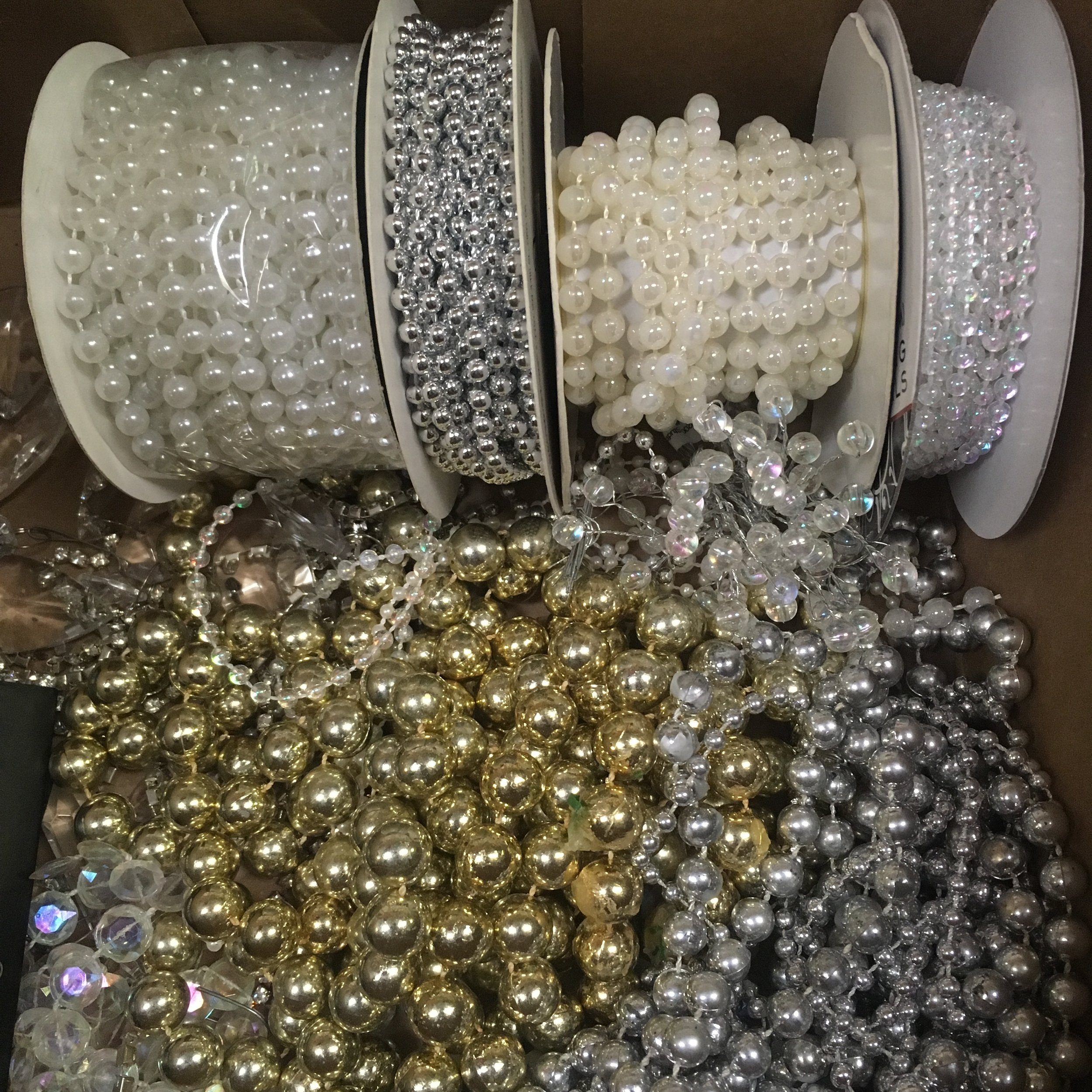 Cascading Beads: White, Iridescent, Silver, Gold