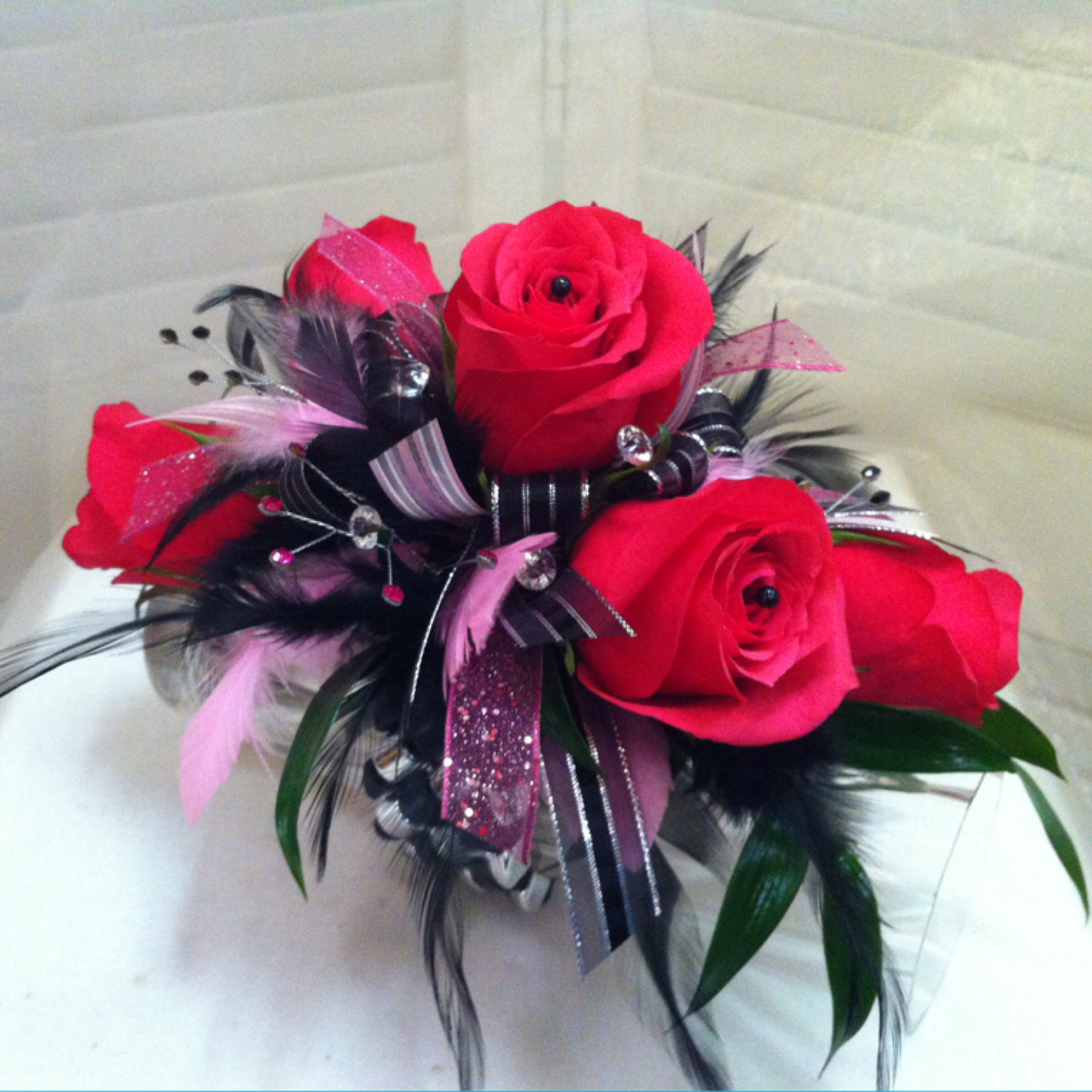 Premium Corsage (35) with Extra Jewels (5) on Super Bracelet (8) $48