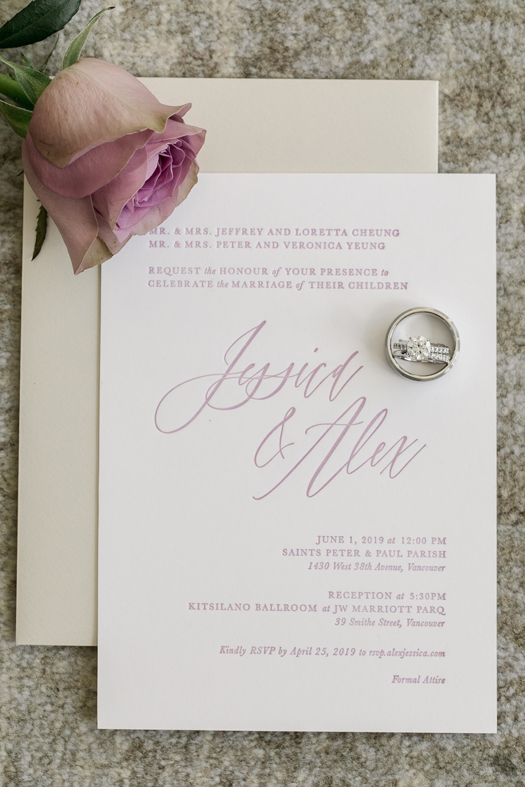 Jessica & Alex JW Marriott Parq Wedding. Wedding letterpress and custom calligraphy Invitation suite with the Bride's engagement rings Keepsake Events