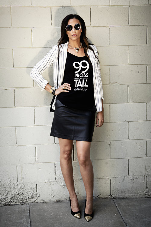 99 Problems Tall Tee - Height Goddess /Tall Striped Blazer -  ASOS /Faux Leather Mini and clutch- H&M/Cap Toe Pumps (Size 12) - Payless/ Watch  and Neck Piece - Forever 21/Studded Wrap Bracelet - Alloy Apparel/ Round Sunnies - iBiss Boutique     Photo Credit: Lindsay Carlisle