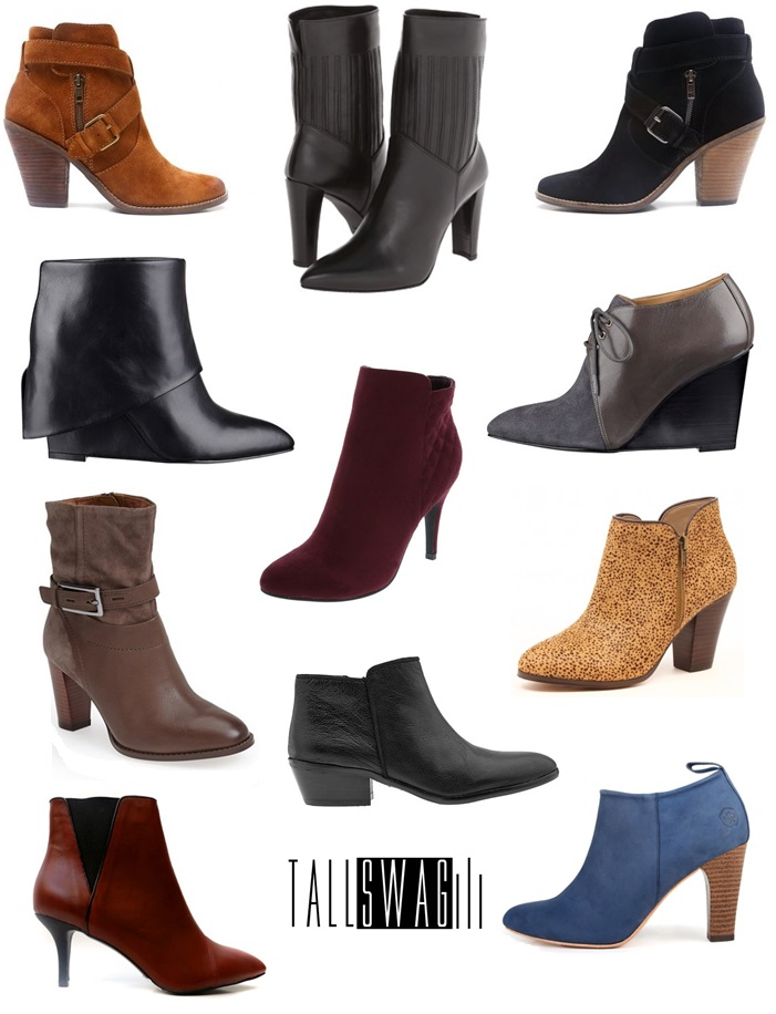 BOOTIES ROCKIN EVERYWHERE (top to bottom, left to right):  DV CONARY in brown. Long Tall Sally. Sizes 11-14 / STUART WEITZMAN HIDDEN. Zappos. 5-12 / DV CONARY in black. Long Tall Sally. Sizes 11-14 / HISSYFIT. Nine West. 5-12 / WOMEN'S QUILTED PRESTINE BOOT in wine. Payless. 5-13 / HARTIE POINTED TOE WEDGE BOOTIES. Nine West. 5-12 / CLARKS KACIA GARNET BOOTIES. Nordstrom. Sizes 5-12 / SAM EDELMAN PETTY. Piperlime. Sizes 4-12 / CHELSA. Sole Society. Sizes 4-12 / BAREFOOT TESS DEVON. Long Tall Sally. Sizes 9-15 / CLASSIC ANKLE BOOTIE in Blue Jean Baby. Poppy Barley. Fully Customizable footwear up to sizes 5-12.