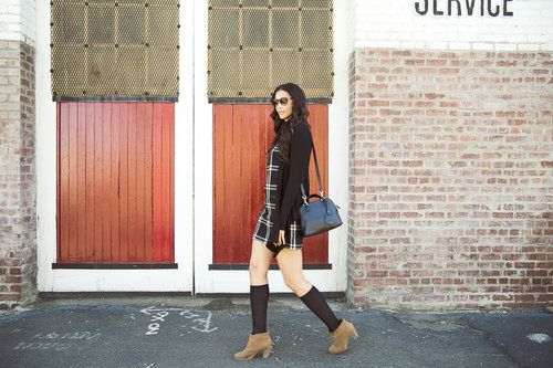 Tall Black Check Dress - NEXT / Easy Knit Cardigan - LONG ELEGANT LEGS / Long Sleeve Jersey Body - TTYA for LONG TALL SALLY /Lace Up Booties - Z LONDON FOR PAYLESS/Knee High Socks - TARGET/ Mini Dome Satchel Bag - THE LIMITED / Sunnies - COLLAGE CLOTHING LOUNGE    Photo Credit: Lindsay Carlisle