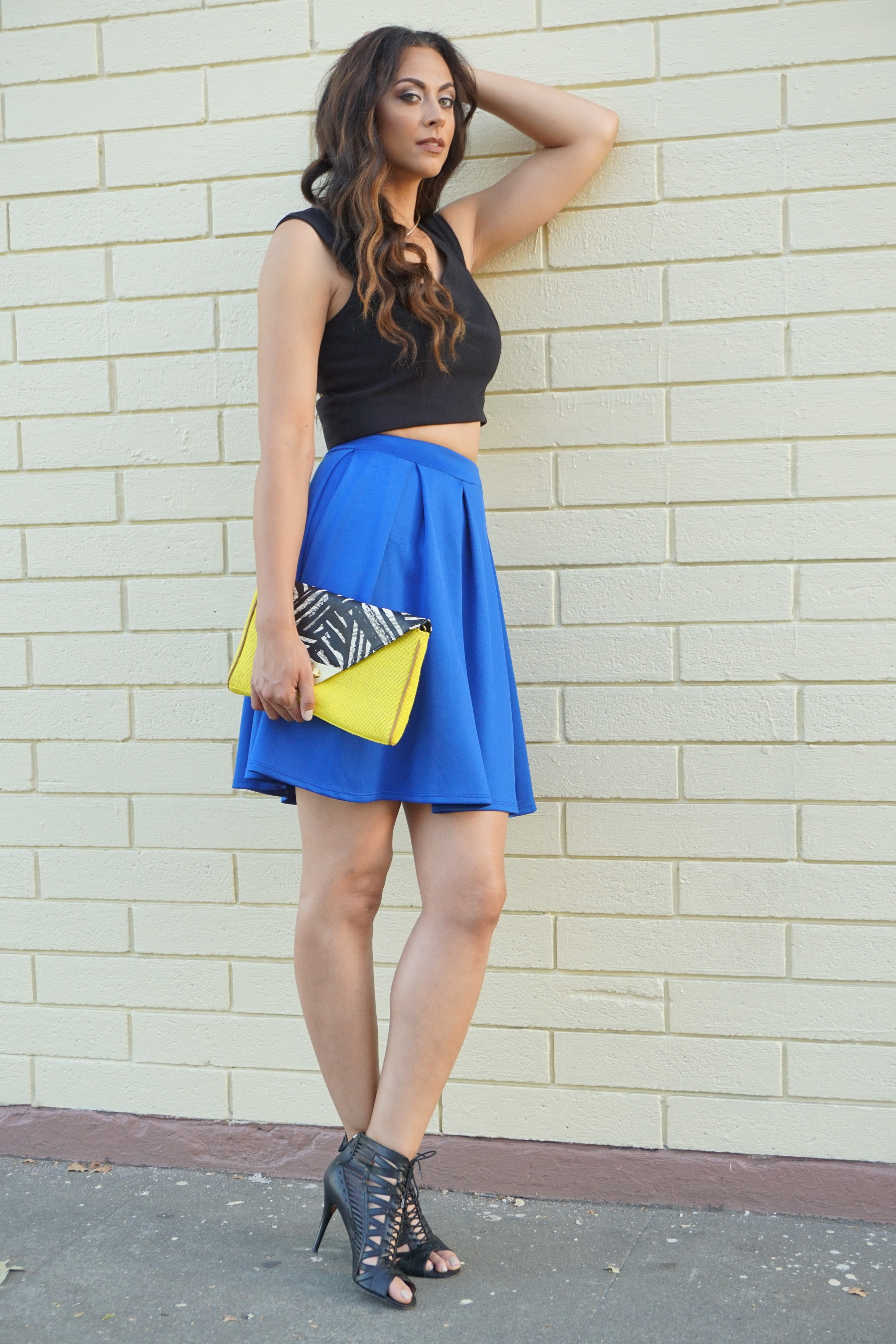Alicia Jay Long Tall Sally Crop Top #TTYA4LTS Blue Skater Skirt TallSWAG Blog Style Beauty Nine West Collage Clothing Lounge 1b.JPG