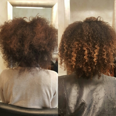 First appointment after taking out the weave. The curl pattern is trying it's hardest to come out.  About an hour after this photo it puffed back up into a ball of frizz. It will take time and training to uncover and maintain my natural curl.