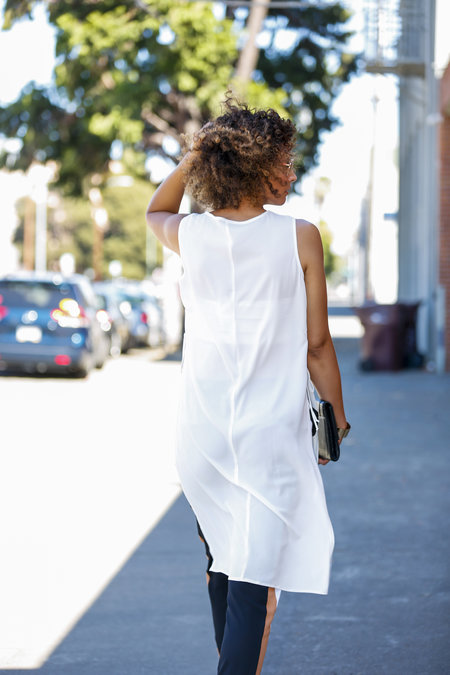 """Tall Side Lace Up Longline Vest (added bandeau top underneath)- ASOS /Tall Joggers (36"""" inseam. Similar  HERE ) - ASOS/Booties - Vince Camuto (size 12)/Clutch - H&M/Bracelet - Forever 21  Photo Credit:  Joshua Leung"""