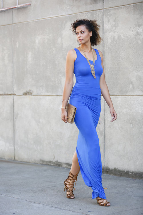 """BLUE VELA MAXI - THE HEIGHT (shown in 66"""" length, size L) / Rollie - Smash Shoes (shown in size 12) /Necklace and Bracelet - Forever 21/Clutch - H&M  Photo Credit:  Joshua Leung"""