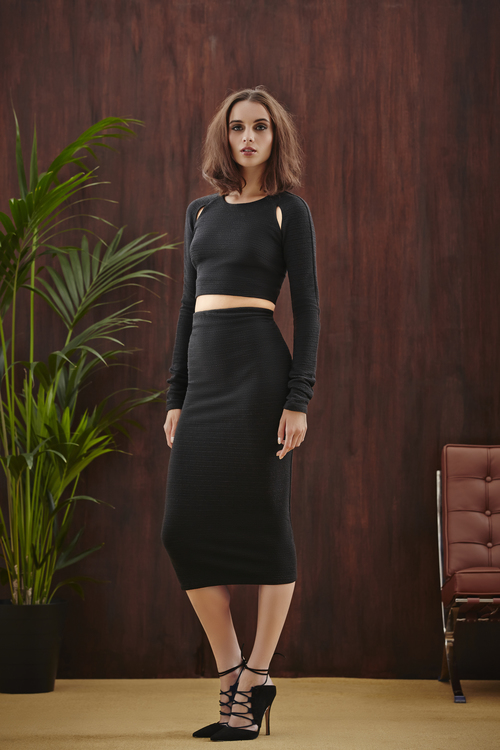 Textured Cut Out Crop Top and Textured Midi Pencil Skirt