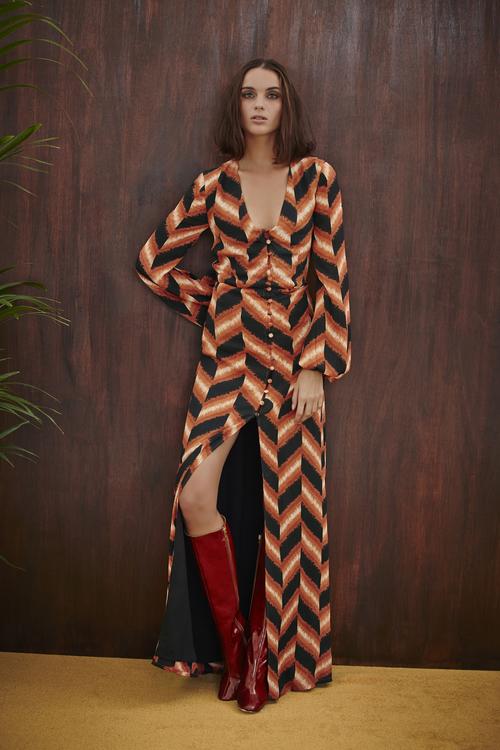 Abstract Chevron Maxi Dress