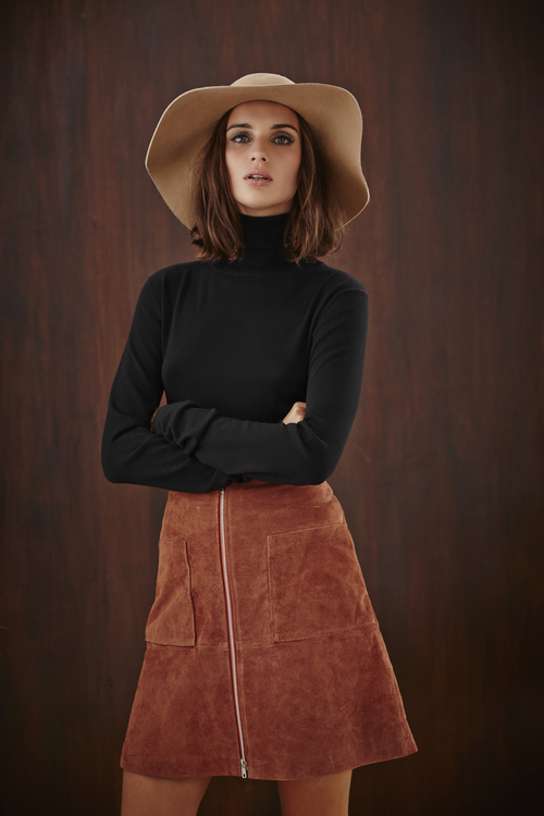 Polo Neck Knit Shirt and Suede Utility Mini Skirt