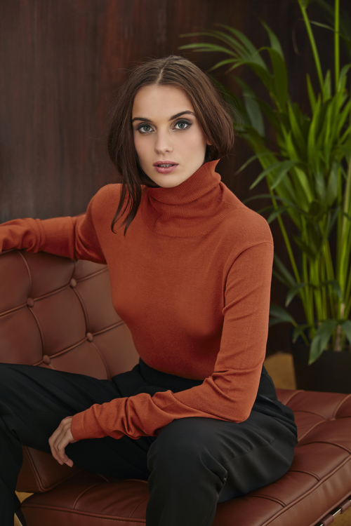 Polo Neck Knit Shirt and Trouser with Braces