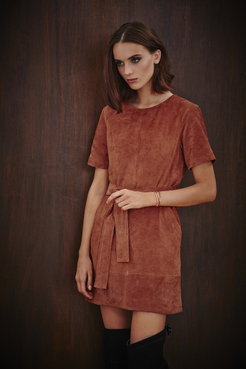 Belted Suede Dress