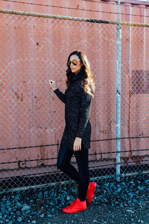Alicia Jay The Height Sweater Winter red converse high top leggings Long Tall Sally faux leather Tall style fashion TallSWAG street 1.jpg