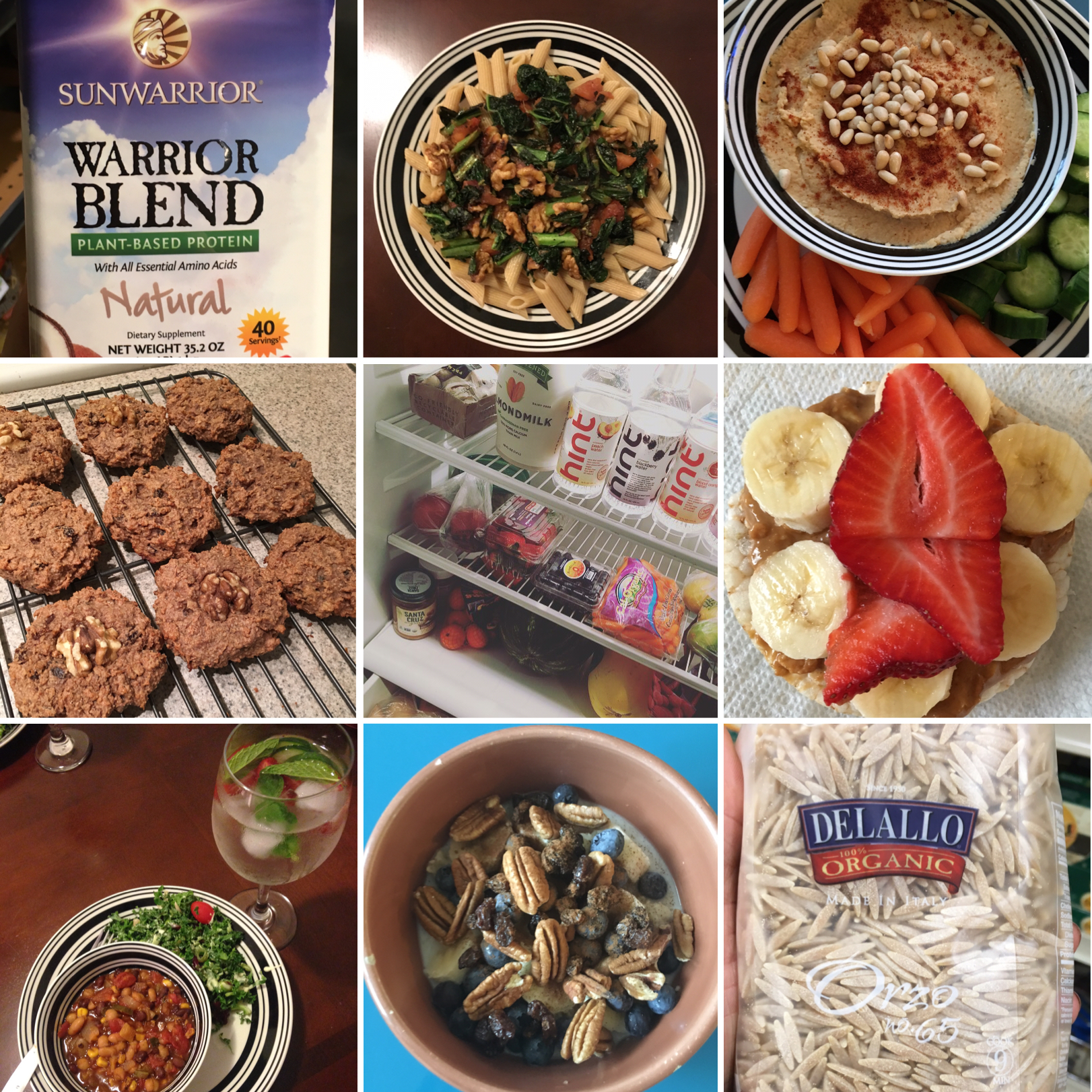 I am certainly not a chef but here are some of the random things I made and ate while on the fast: Vegetable based protein (you can find at whole foods and Target. For the best results, blend it with peanut butter, almond milk and fruit)/Kale, fresh tomato, walnut and garlic almond milk sauce over whole grain penne pasta/Hummus with toasted pine nuts/ Daniel Fast cookies / Preparation for the fast (super important) /Almond butter, bananas and strawberries on a brown rice cake/ Daniel Fast Chili  with a kale, apple, balsamic-olive oil salad and  strawberry, lime and mint water /Whole grain oats with almond milk, almond butter, cinnamon, pecans, blueberries and raisins/Delallo Organic Whole Grain Pasta (which was my favorite brand on the fast)/For more Daniel Fast recipes, click  HERE  or the photo.
