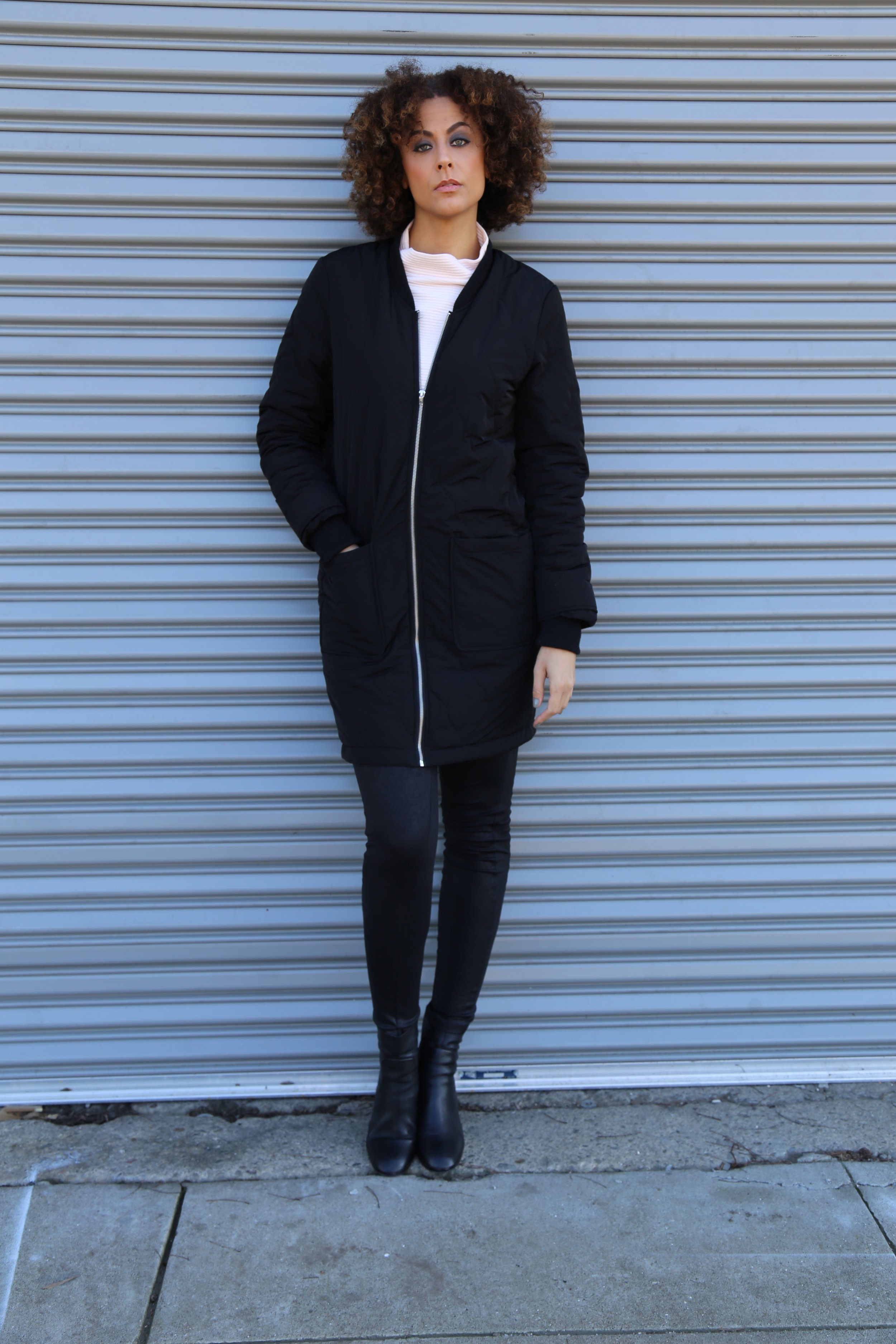 Tall Quilted Bomber Jacket ,  Ottoman Rib Sweat Top  and boots ( similar here ) -  Long Tall Sally / Leather Look Smoothing Tall Legging  - Tall Girls UK  Photo Credit:  Lakeela Smith