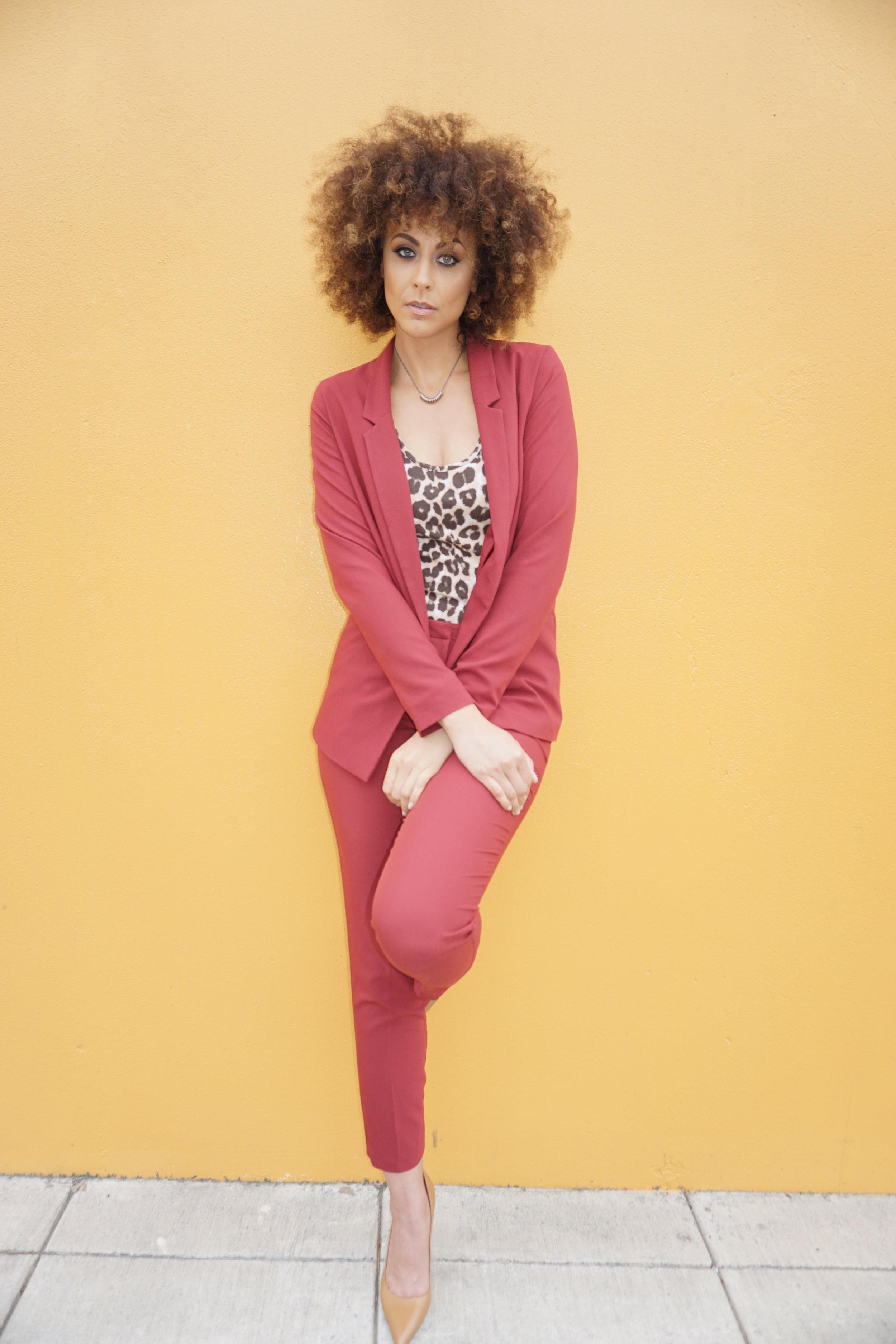 Tall suit -  ASOS /Tall Bodysuit -  ASOS /Necklace -  Candid Art /Shoes - Calvin Klein via Nordstrom Rack  Photography and makeup -  Nikki Notarte