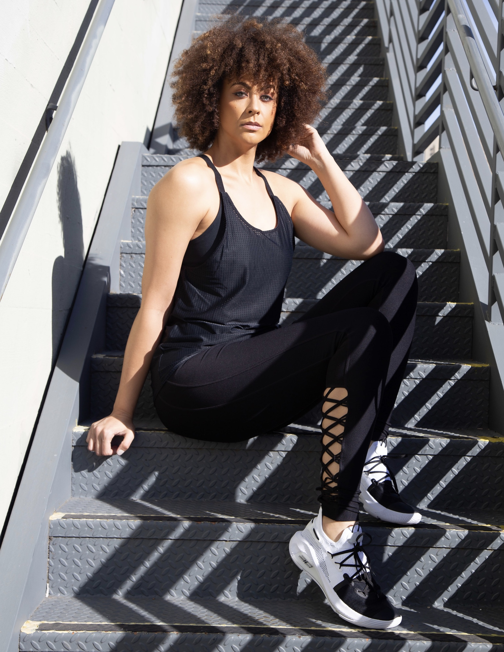 Photos by Lakeela Smith     MPG X LTS Revitalize High Waist Legging (shown in size M)      MPG X LTS Interlace Sports Leggings (shown in M)      MPG X LTS Re-Energize Mesh Overlay Tank (shown in size M)      UA Curry 6 (shown in size Men's 11)