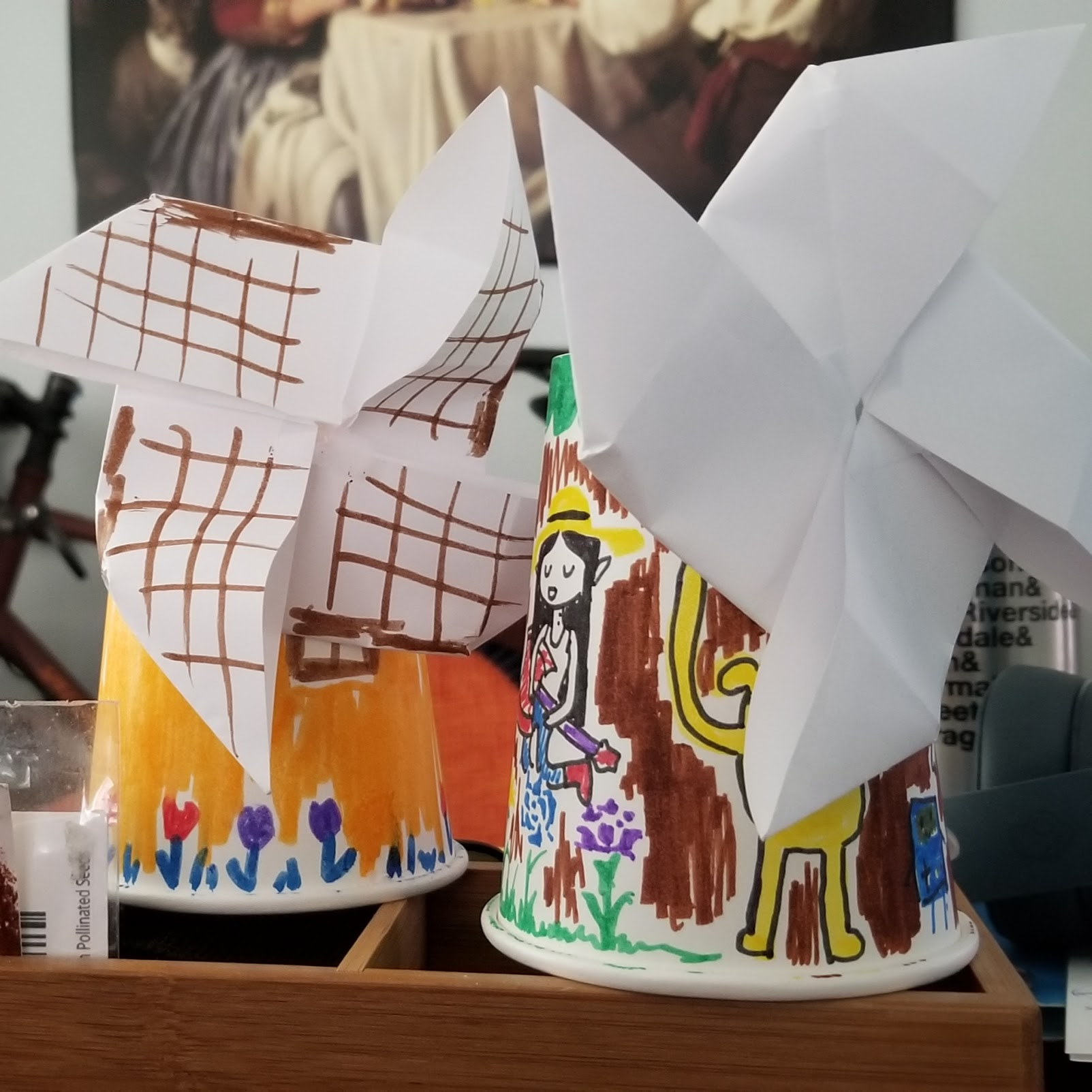 Art Afternoon - Dutch Windmills for my weekly craft, in honor of the journey!(Adventure Time by my awesome co-worker.)