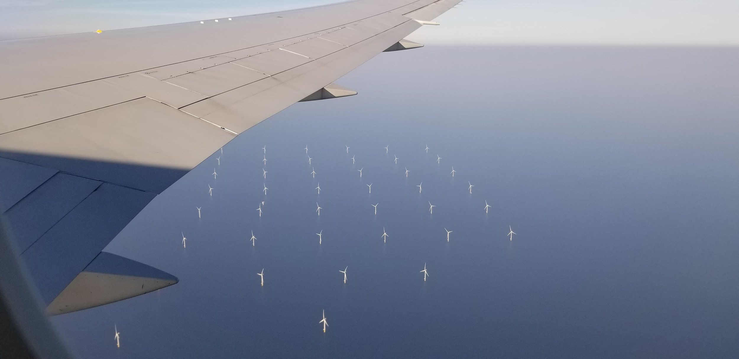Windmills off the coast of Netherlands.