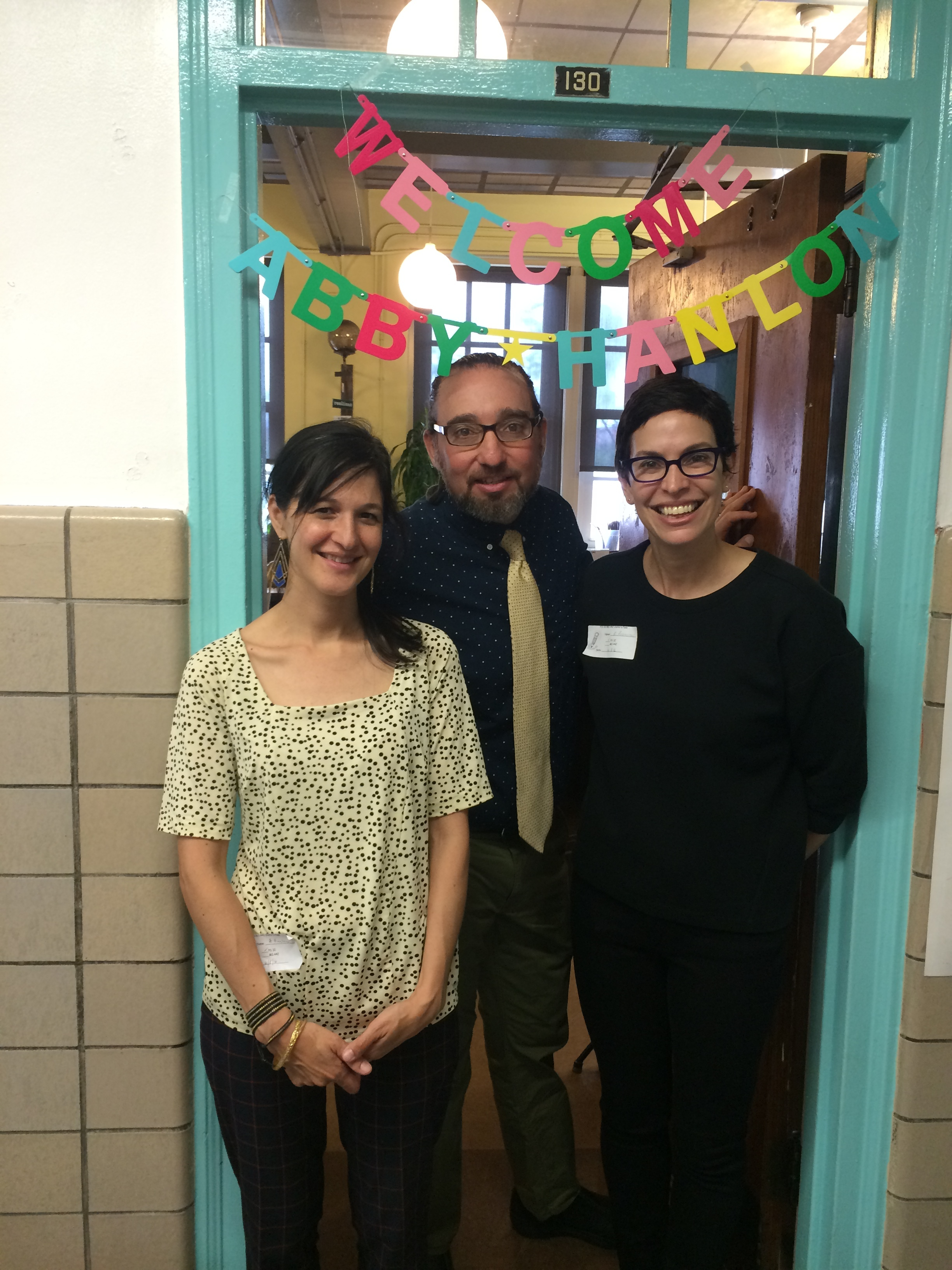 With librarian Adam Marcus and parent Robin Rosenthal at PS 32 in Brooklyn