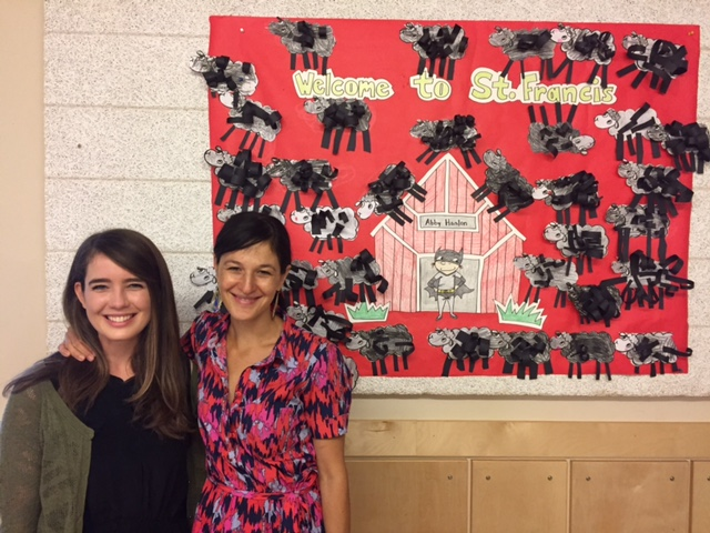 With Emily Echols, super librarian at St. Francis (with lots of beautiful black sheep behind us.)