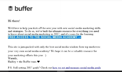 A typical, very basic email from Buffer, makers of social marketing software.