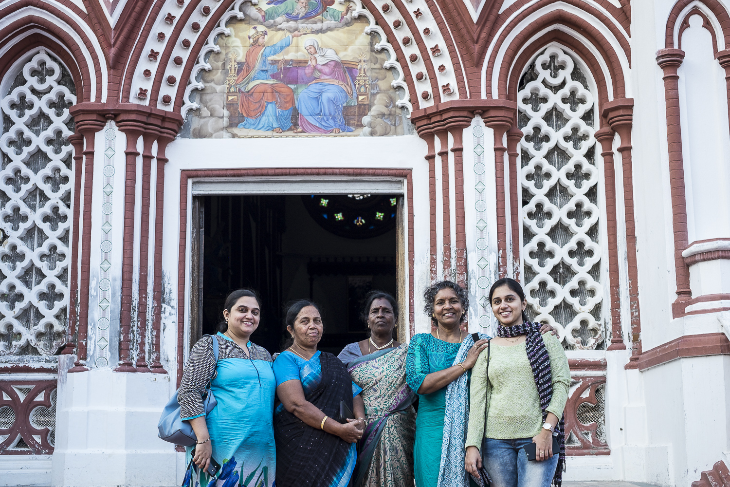 My mother Geetha (second from the right) together with her sister Krishna (middle), her cousin Sheila (second from the left), and Sheila's two daughters Tanya (far left) and Nancy (far right).