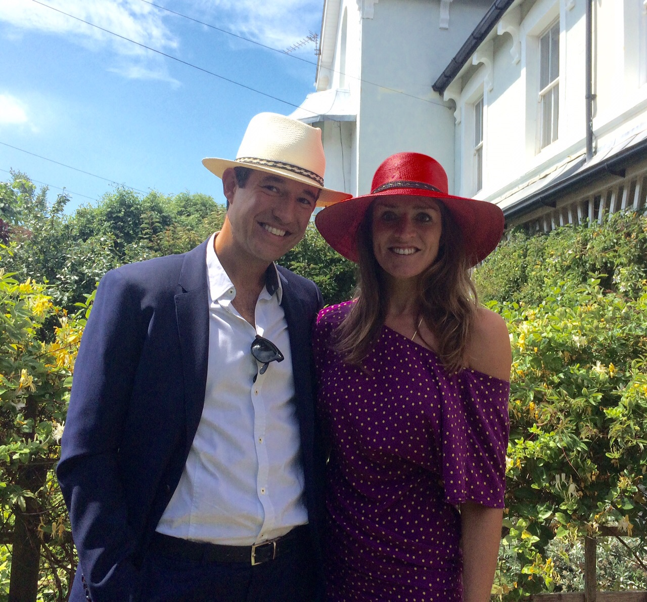 Mr & Mrs Williams in their bespoke City Milliner bespoke panama hats