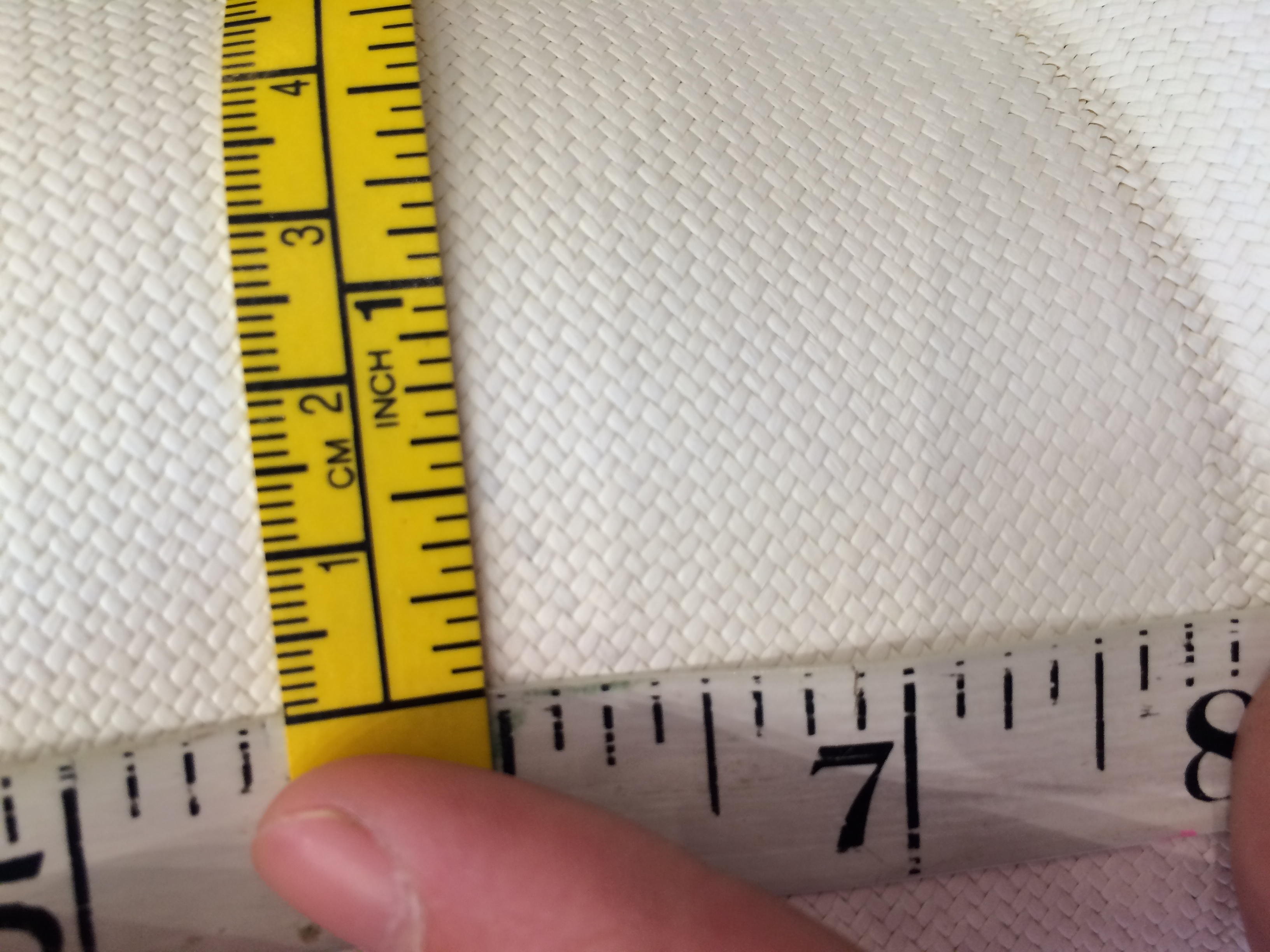 The City Milliner measuring per square inch for quality