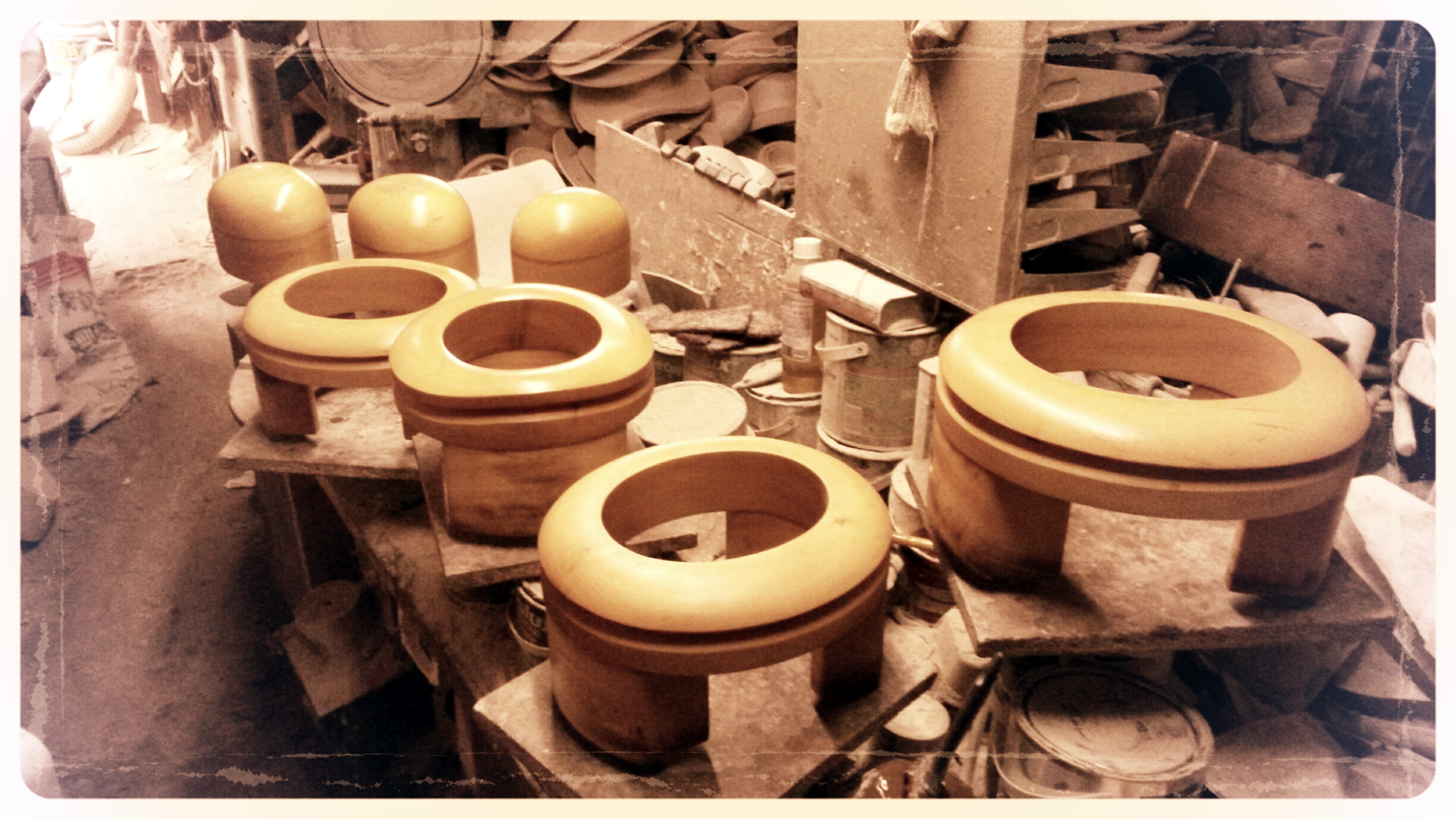 The finished varnished hat blocks waiting to dry