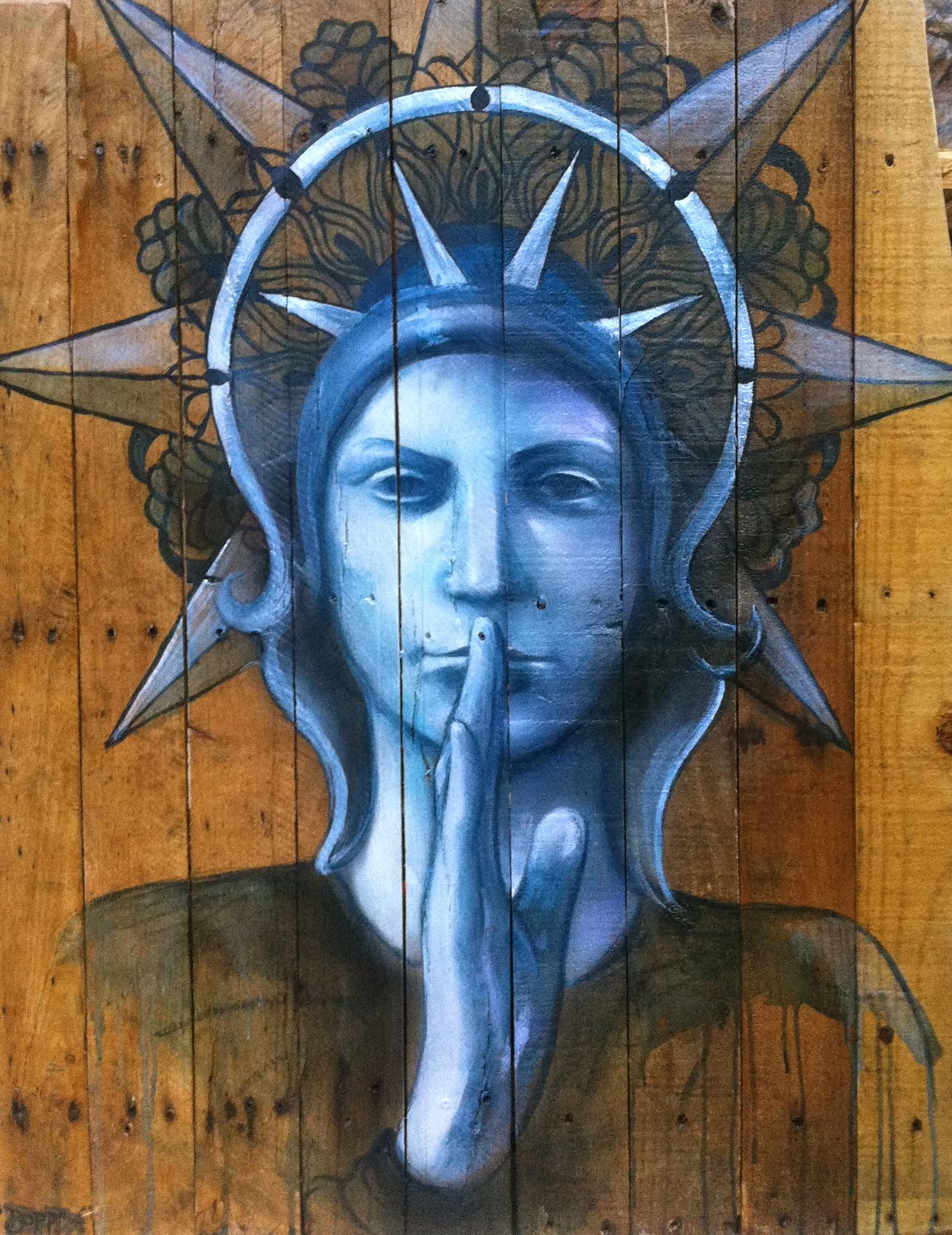 'Peace' Acrylic and Aerosol on canvas 32''x36''