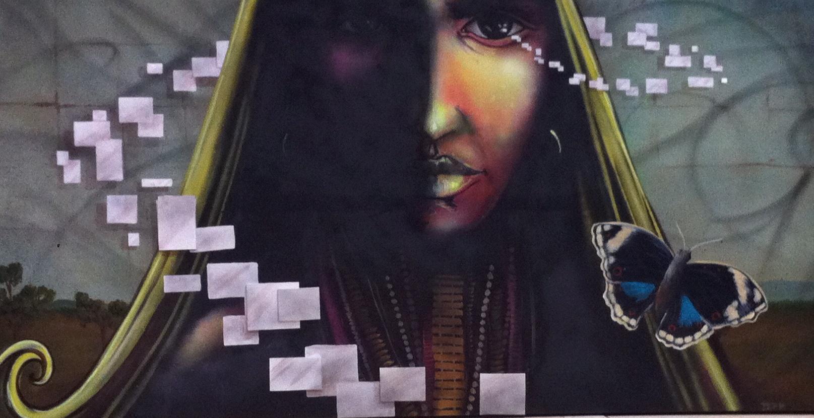 'The minds eye' Acrylic and Aerosol on canvas 36'x72''