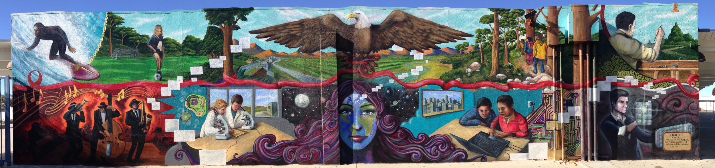 'Mother Earth' Acrylic and Aerosol 15'x60' Redondo Beach, CA
