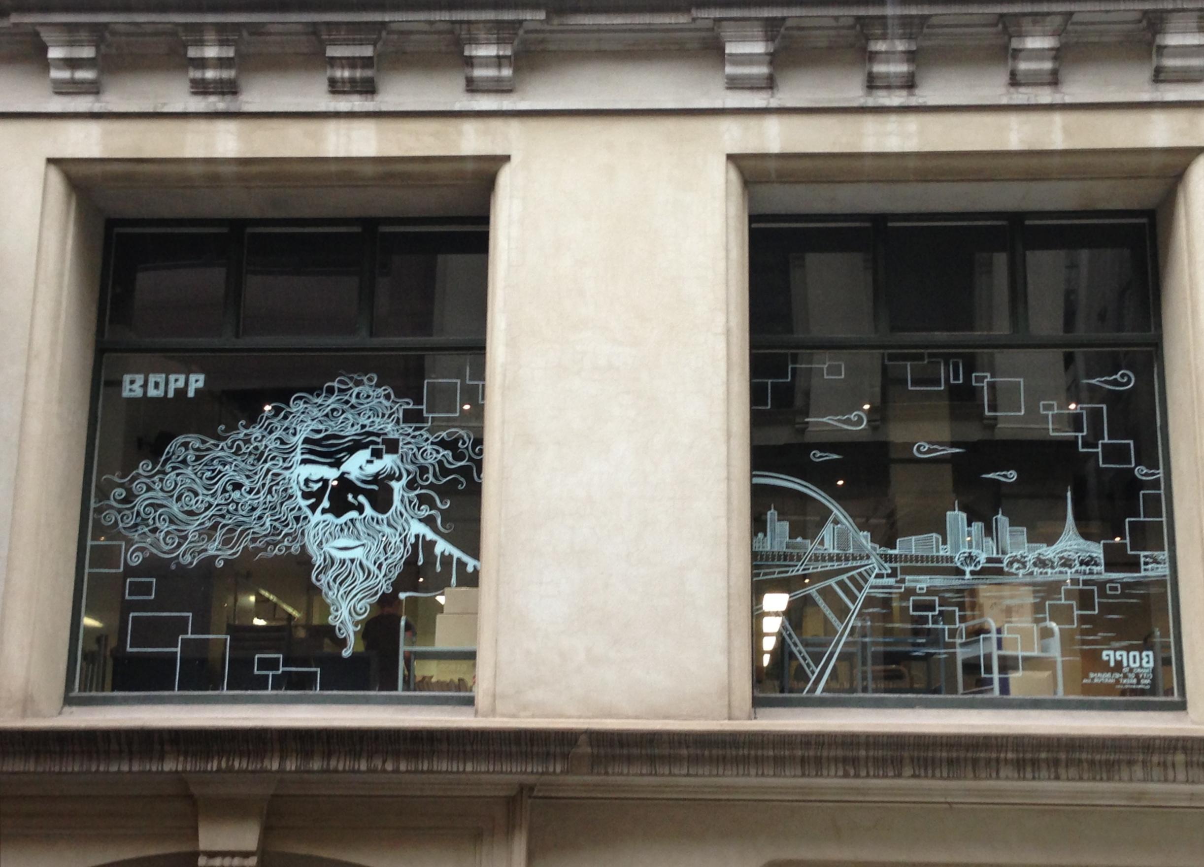 'View points' acrylic on glass 9'x20' Melbourne, Australia