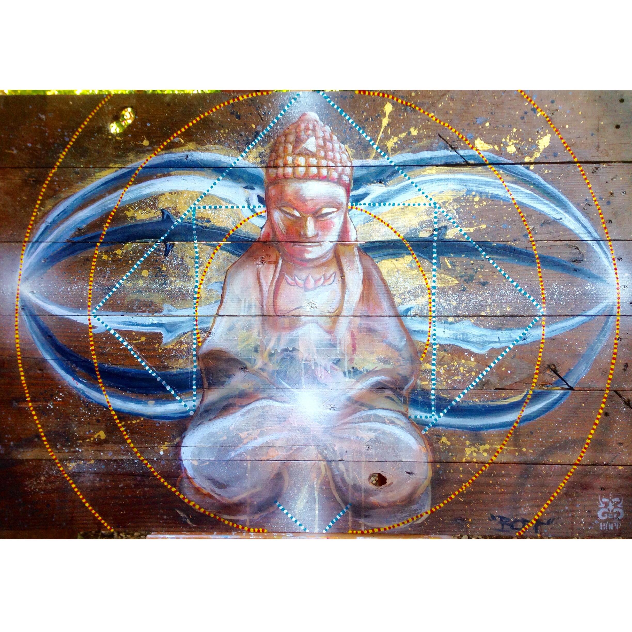'Buddha' Acrylicand aerosol on wood 32''x48''