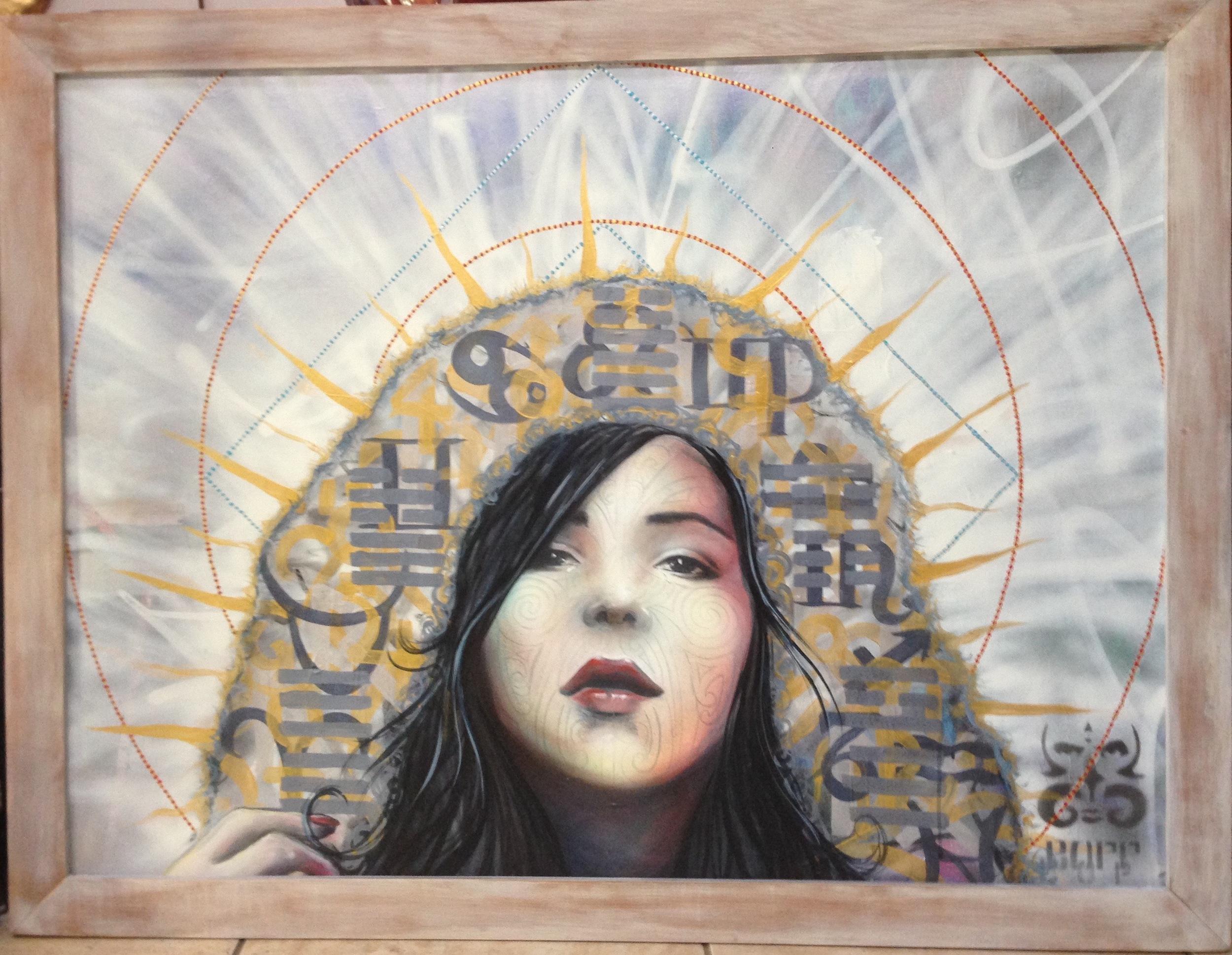 'Cloak' Acrylic and aerosol on canvas 40''x50''