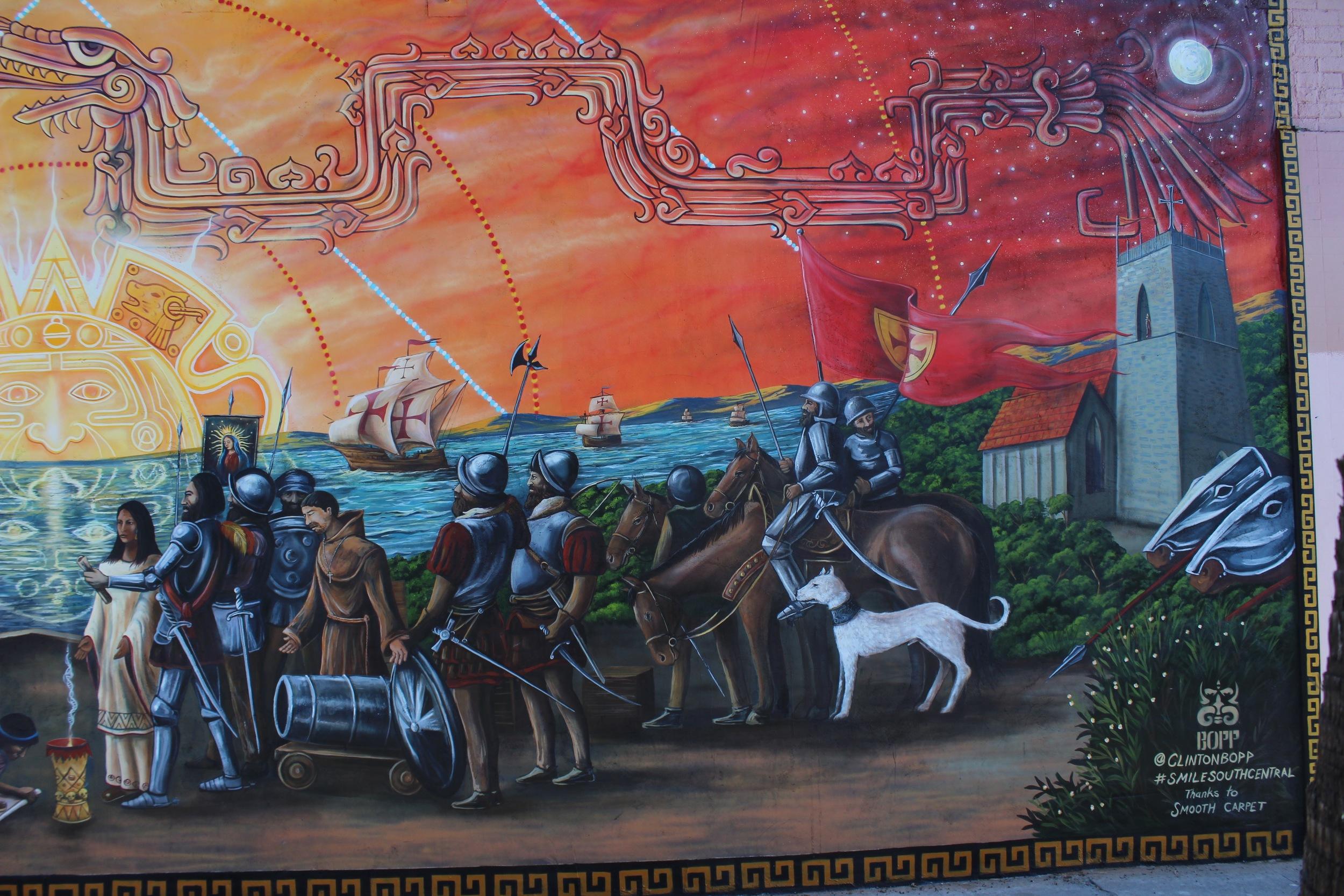 'La Conquista' Acrylic and aerosol 16'x38' South Central L.A ( Spanish side)