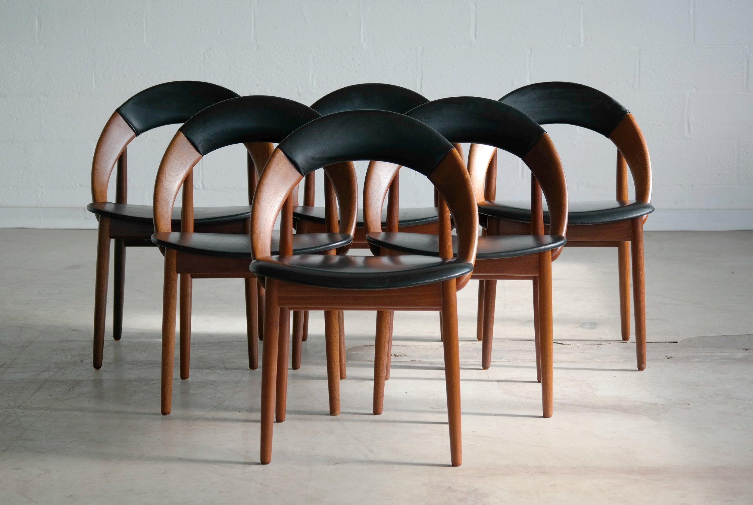 Very Rare Set of Six Dining Chairs by Arne Hovmand Olsen