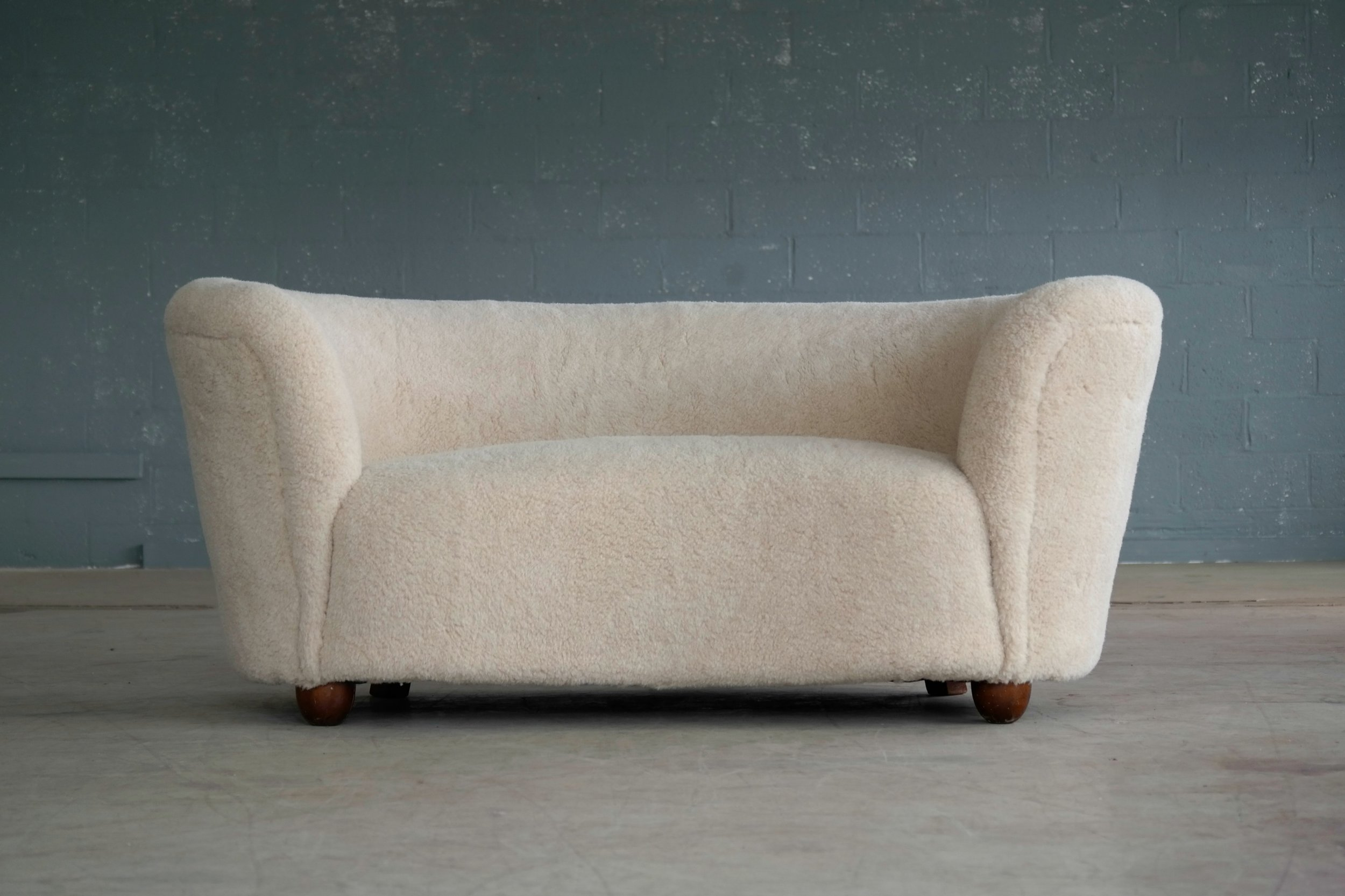Viggo Boesen Style Curved Sofa or Loveseat in Lambswool Attributed to Slagelse
