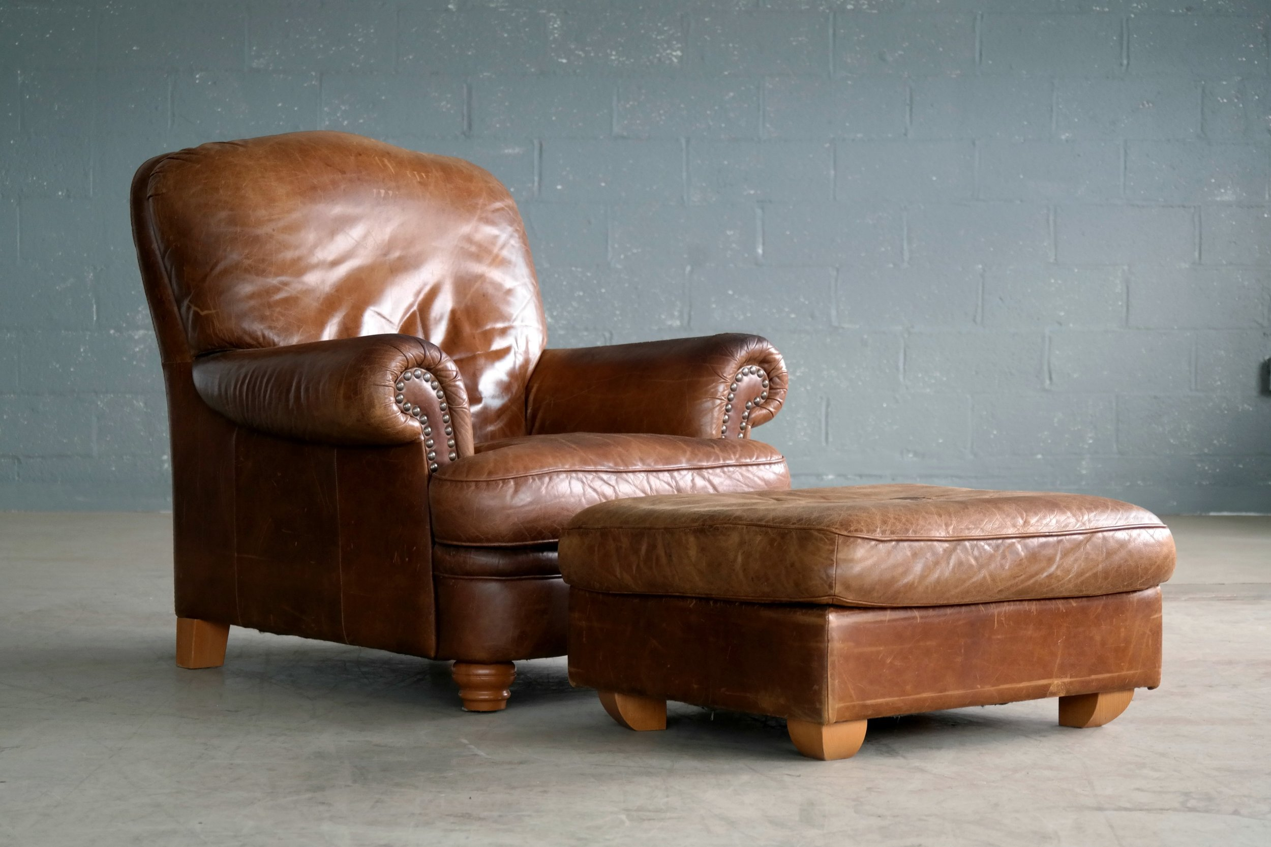 Danish Mid-Century Large Size Cognac Color Leather Club Chair with Ottoman