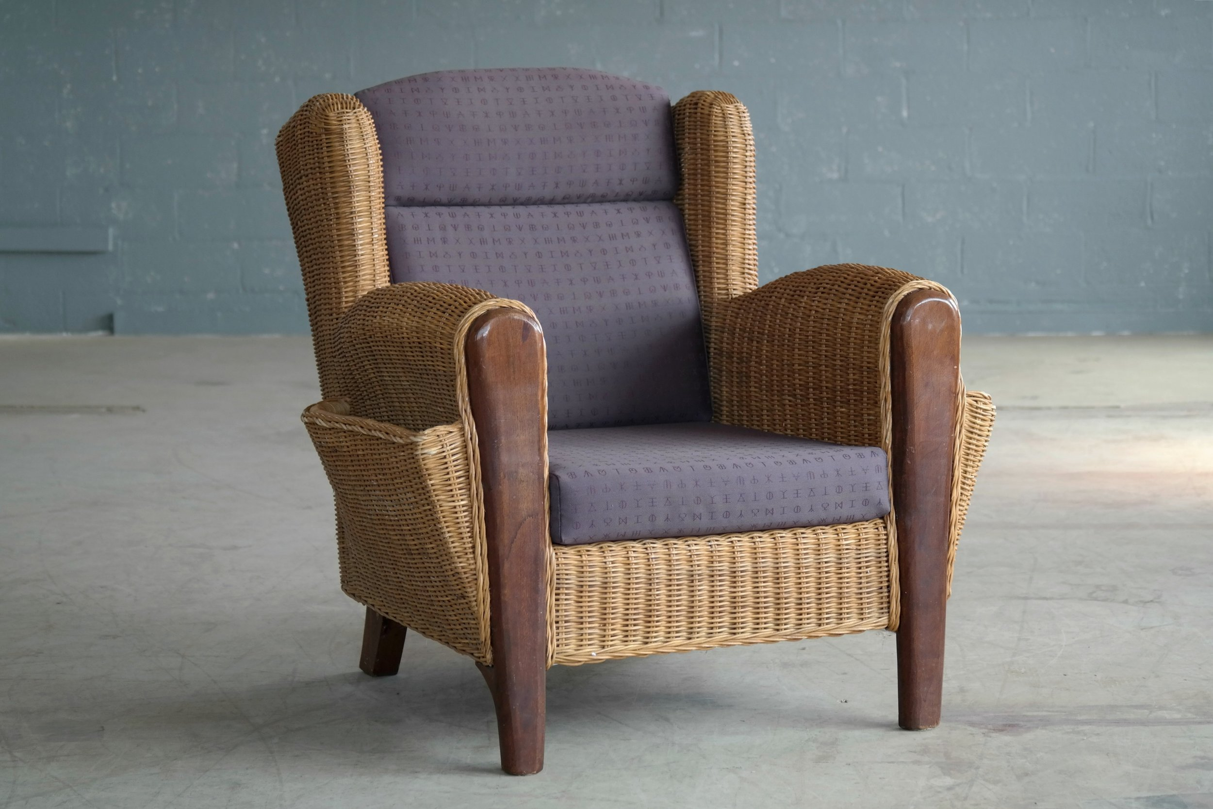 Danish Mid-Century Wicker Lounge Chair with Magazine Pockets